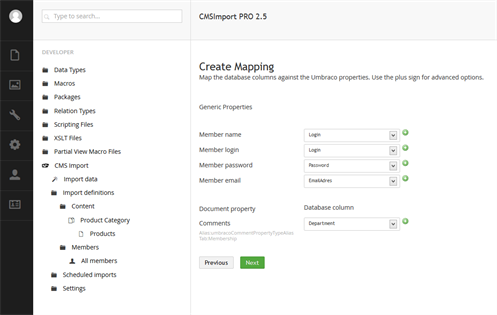 CMSImport Mapping screen in Umbraco v7